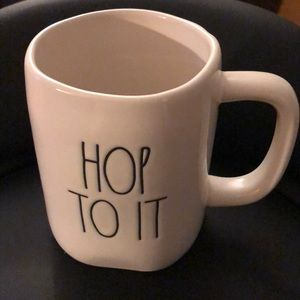 "Rae Dunn ""Hop To It"" White Mug"